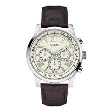 Latest GUESS Men's Chronograph Classic Sport Brown Leather Strap Watch  U0380G2
