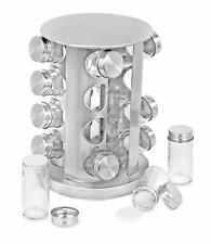 Revolving Spice Rack 16 Glass Jar Round Seasoning Storage Organization Tower