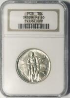 1938 Oregon Trail Commemorative Silver Half Dollar - NGC Mint State 65