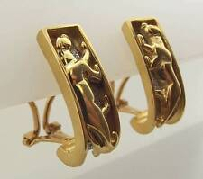 14KT YELLOW GOLD 2 TONE PANTHER OMEGA BACK POST PIERCED EARRINGS (49E 260-10467)