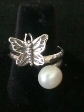 🌼Designer PAZ STERLING SILVER AUTHENTIC PEARL & BUTTERFLY RING SZ7