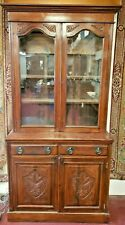 Antique English Oak  Bookcase  Cabinet Hutch Display 2 Upper Glass Doors