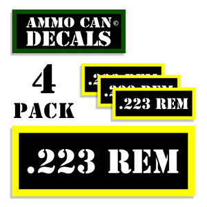 """223 REM Ammo Can Labels Ammunition Case 3""""x1.15"""" stickers decals 4 pack BLYW"""