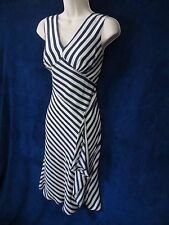 NWOT Suzi Chin Maggy Boutique Ivory Nautical Navy Silk Striped Formal Dress 8P