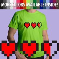 8-bit Pixel Heart Game Life Container Zelda Unisex Mens Tee Crew Neck T-Shirt