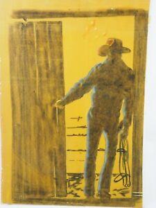 "Vintage Cowboy at Sunset Pastel on Felt Painting 14"" x 20"""