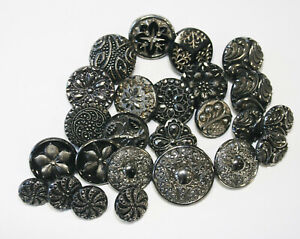 25 Antique Victorian Black Glass with Silver Luster Buttons~Some Sets
