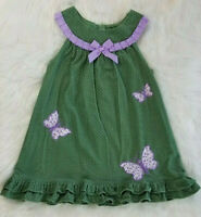 Rare Editions Girls Size 6 Green & Lavender Butterfly Corduroy Jumper Dress CUTE
