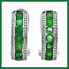 1.69 CT GENUINE EMERALD & DIAMOND FRENCH BACK EARRINGS 925 STERLING SILVER New