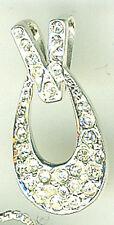 """925 Sterling Silver Clear Cubic Zirconia Open Teardrop Shaped Pendant  22mm 7/8"""""""