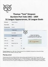 TOM SIMPSON BURSLEM PORT VALE 1901-1904 EXTREMELY RARE ORIG AUTOGRAPH CUTTING