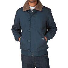 WESC Jejor Jacket Midnight Blue Tan Sherpa Lined Cotton Canvas Coat M Medium
