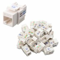 [UL Listed] Cable Matters 25-Pack Cat6 RJ45 Keystone Jack in White and Keystone