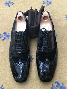 Gucci Mens Shoes Black Patent Leather Velvet Lace Up UK 9.5 US 10.5 EU 43.5