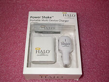 Halo Power Shake Portable Charger w/12-in-1 Retractable USB & AC Adapter/Car NEW