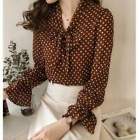 Lady Chiffon Bow Tie Shirt Silk Polka Dots Ruffle Top V Neck Long Sleeve Blouses