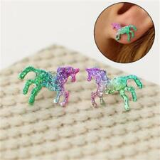 Horse Earrings Bling Colorful Cartoons Glitter Unicorn Ear Stud Shiny  Jewelry
