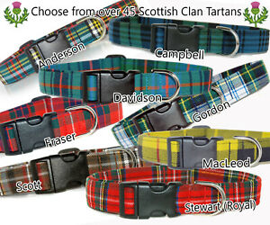 Tartan Dog Collar,Scottish Clan tartans in 4 widths and 5 sizes From A-L