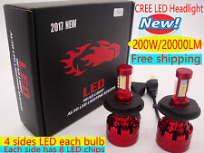 NEW CREE 200W 20000LM LED Headlgiht kit Car Bulb Light H4 H7 H11 H1 White 6000K