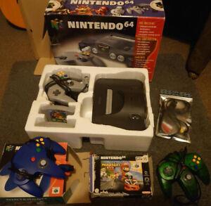 Nintendo N64 Console Boxed + MarioKart, Super Mario, Fifa 64, 3 controllers PAL