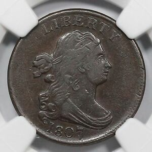 1807 C-1 NGC XF 40 Draped Bust Half Cent Coin 1/2c