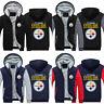 Pittsburgh Steelers Sweatshirt Winter Fleece Coat Fans Warm Jacket Zip Up Hoodie