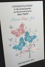 Grande A5 Personalizzata Fatto a Mano New Baby GEMELLI / TRIPLI CARD