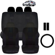 NEW SOLID BLACK POLYESTER SEAT COVERS & STEERING COMBO 12PC SET FOR CARS 2323