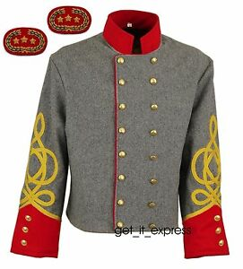 CONFEDERATE SHELL JACKET, ARTILLERY OFFICERS, DOUBLE BREASTED, SIZE 34 -54, NEW