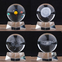80mm Solar Galaxy Crystal Ball 3D Laser Engraved Quartz Glass Ball Home Decor