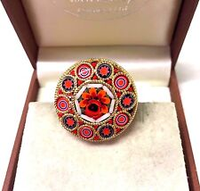Vintage Jewellery Gorgeous Colourful   Round Micro Mosaic Brooch Pin