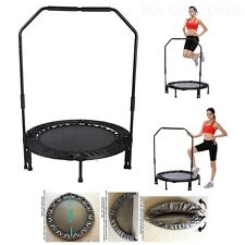 Mini Foldable Trampoline W/ Bar Fitness Rebounder Bouncing Exercise Workout NEW