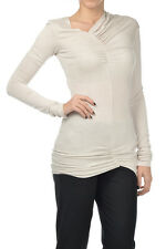 PSPII New Woman White Asymmetric Ruched Row Cut Long Sleeve T-Shirt Tee Size XS