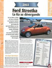 Ford Streetka Cabriolet Ka 4 Cyl. 2003 Germany USA Car Auto Voiture FICHE FRANCE