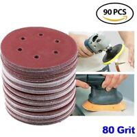 90 Pcs 6 inch 80 Grit Sanding Discs Sandpaper Hook & Loop Pad for Orbital Sander
