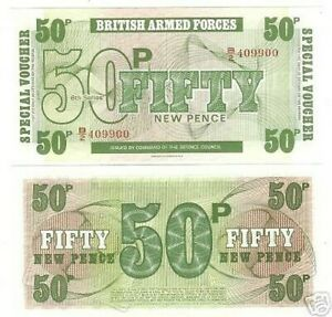 BRITISH ARM FORCES 50 PENCE GEM UNC 6TH SERIES NOTE~F/S