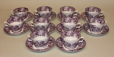 8 Enoch Wood & Son English Scenery Purple Flat Teacups Tea Cups and Saucers