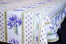 """LE CLUNY, LAVENDER CREAM FRENCH PROVENCE COATED COTTON TABLECLOTH, 52"""" X 72"""""""