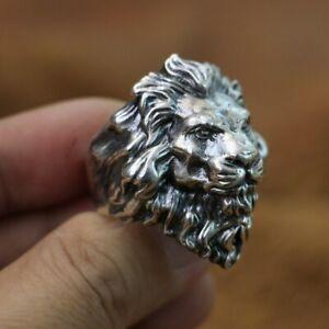 Handmade 925 Sterling Silver King of Lion Ring Mens Biker Punk Animal Ring TA128