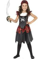 PIRATE SKULL & CROSSBONES GIRL COSTUME, GIRLS FANCY DRESS, SMALL AGE 4-6, GIRLS