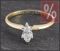 Diamant Damen Ring 585 Gold, Solitär 0,50 ct, River D, Weißgold/Gelbgold Neu