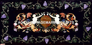 Marble Large Restaurant Table Top Inlay Grapes Beautiful Work Garden Decor H5621