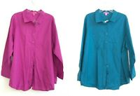 NEW Woman Within Button Down Long Sleeve Shirt Siz 1X Pink Blue Blouse Cotton CP