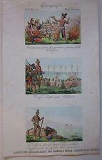 1845 COSTUMI GUERRIERI NORD AMERICA acquafort Marmocchi Native American warriors