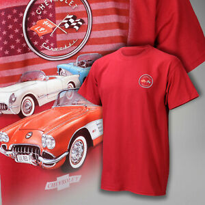 Corvette C1 Patriotic Red, White and Blue T Shirt in Cardinal Red 637042