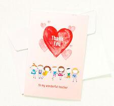 5 Thank You Teacher Heart Greeting Cards for Appreciation Cute Kids TEACHER17