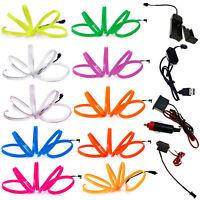 1M - 5M LED Flexible EL Wire Neon Glow String Strip Rope Light Dance Party Decor