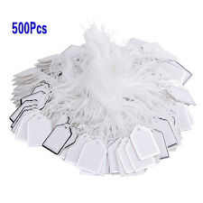 500x Price tags w/ strings Hanging Rings Jewelry Sale Display White & Silver T1