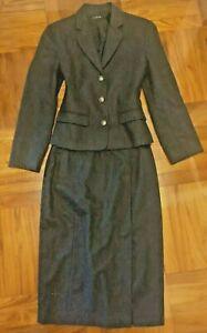 J. CREW 100% Merino Wool 2PC Suit Jacket Blazer Skirt Set Gray Size 4/6