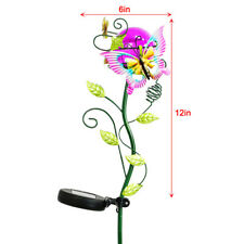 Metal Solar Butterfly Crackle Glass Light LED Landscape Path Flower Stake Lamp